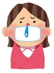 マスクと鼻水の女性