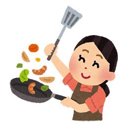 料理中の主婦