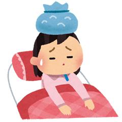 病気で頭を冷やしている女性