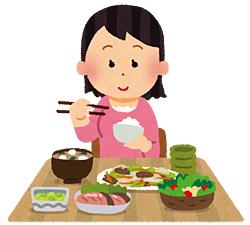 食事している女性